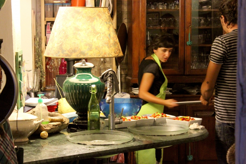 Preparing dinner at ValdericArte, Le Marche,/Italy
