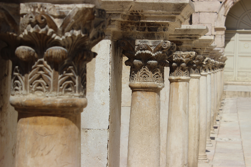 Columns in the Roman theater, Amman, Jordan, Middle East