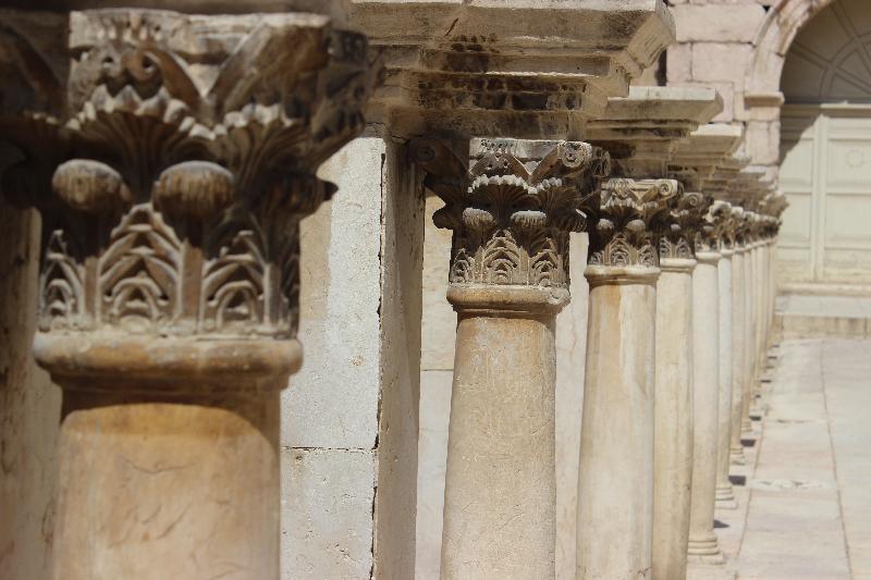 Columns in the Roman theater, Amman, Jordan, Middle East