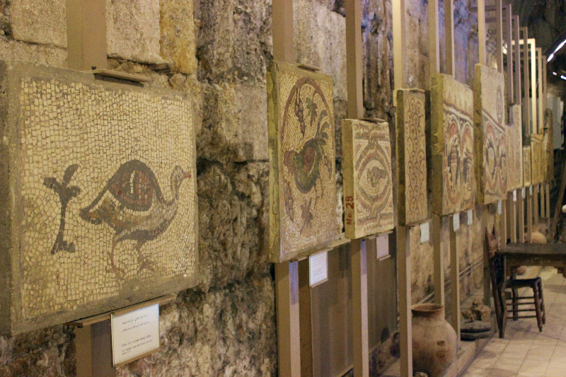 Mosaics in the museum of the Roman theater, Amman, Jordan, Middle East