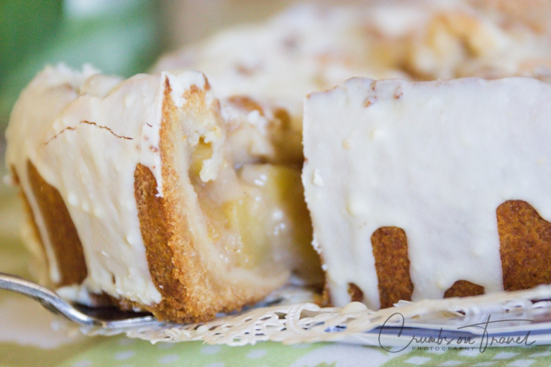 Apple pie with white chocolate coating