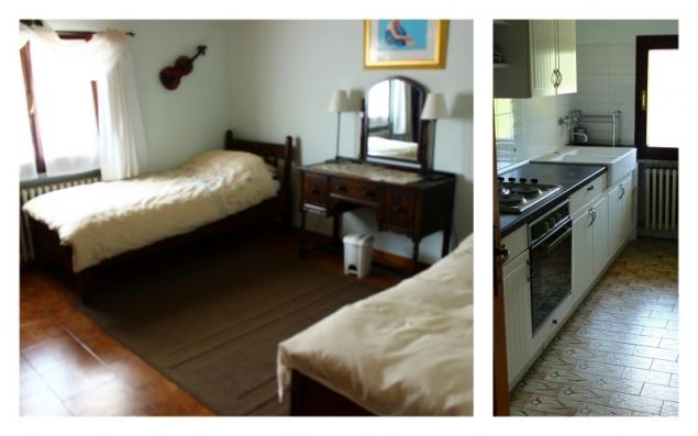 Bedroom and kitchen in Casa Appeninno, Villa Minozzo, Italy