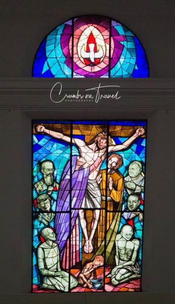 Church window in Buonconvento, Tuscany/Italy