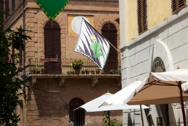 City flag in Buonconvento, Tuscany/Italy