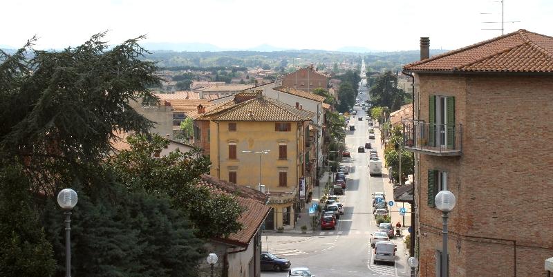 View into Tuscany from Castiglione sul Lago, Umbria, Italy