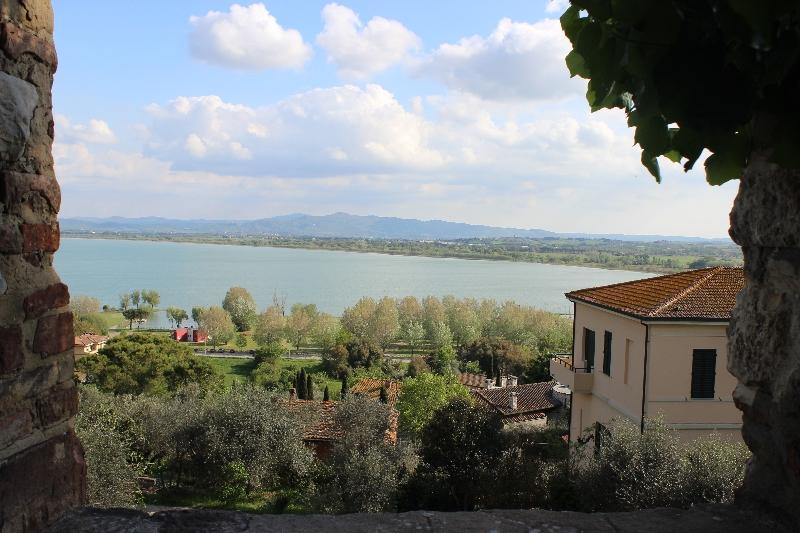 Lake view from Castiglione sul Lago, Umbria, Italy