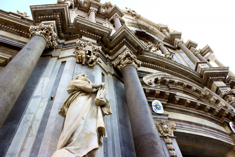 Detail of the facade of the cathedral of Catania, Sicily/Italy