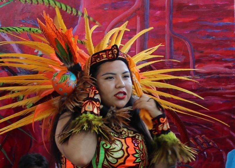 American native dancer seen at the Chicano Festival, Chicano Park, San Diego, California/USA