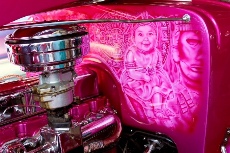 Car detail seen at the Chicano Festival, Amigos Car Club, Chicano Park, San Diego, California/USA