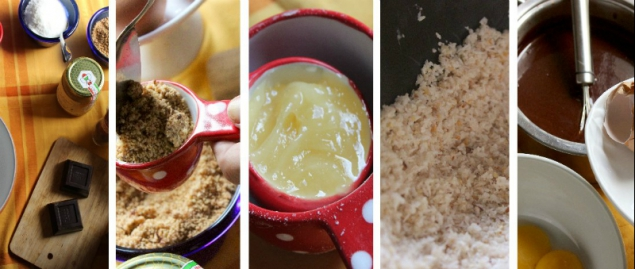 Ingredients for a chocolate-coconut cake