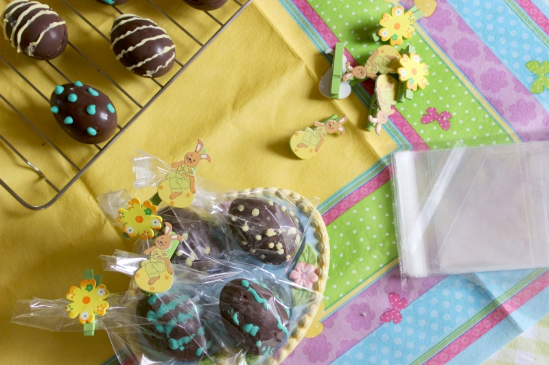 Chocolate Easter eggs filled with vanilla custard and arrowroot cookies