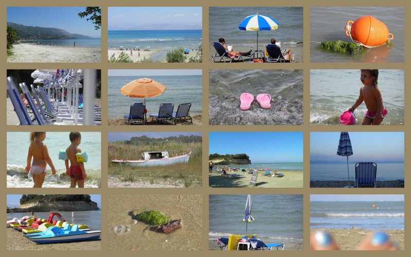 A collage of beach photos in Corfu