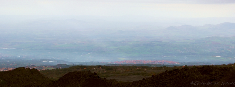 View from Mount Etna on the hinterland of Catania, Sicily/Italy