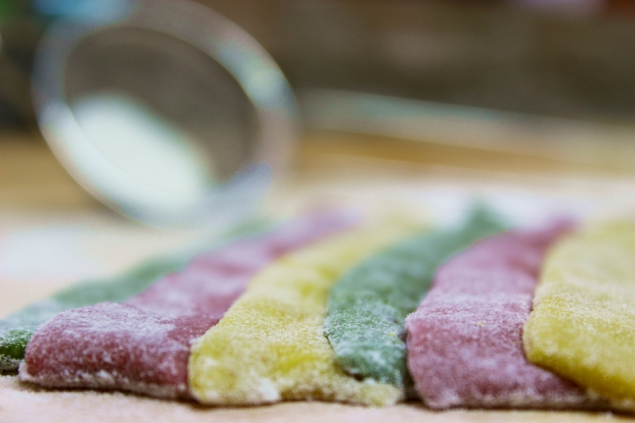 Guess what? Tri-colored pasta for lasagne