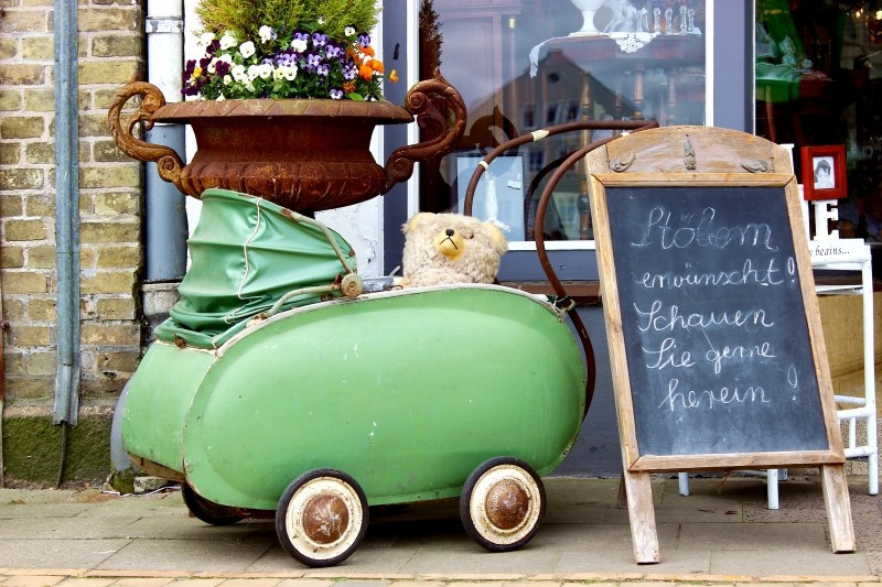 Old buggy seen in Friedrichstadt, Schleswig-Holstein, Germany