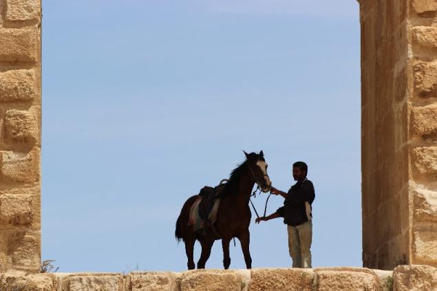 Horse and man, Gerasa, Jordan