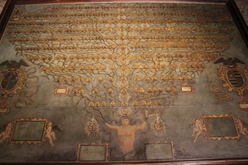 Family tree in the Inside the castle of Gradara, Le Marche, Italy