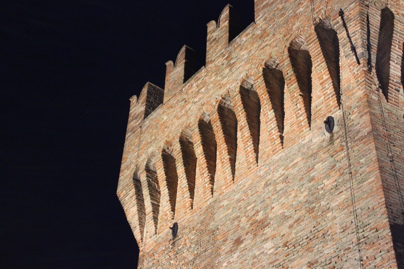 Castle of Gradara by night, Le Marche, Italy