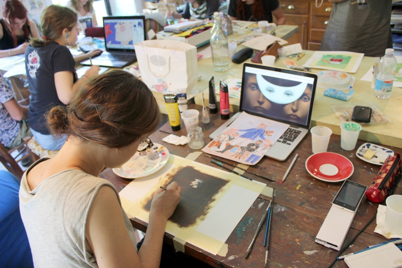 Sirena Riglietti, graphic workshop at ValdericArte in Le Marche/Italy