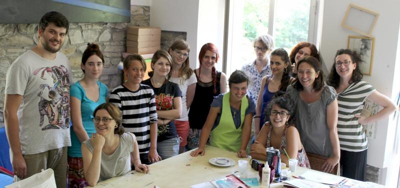 Sirena Riglietti, graphic workshop at ValdericArte in Le Marche/Italy