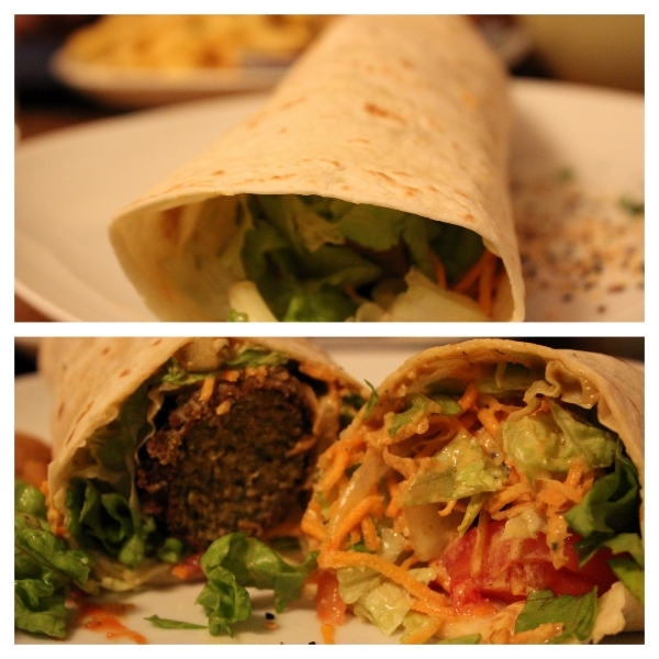 Falafel wrap at Cafe Erde in Graz