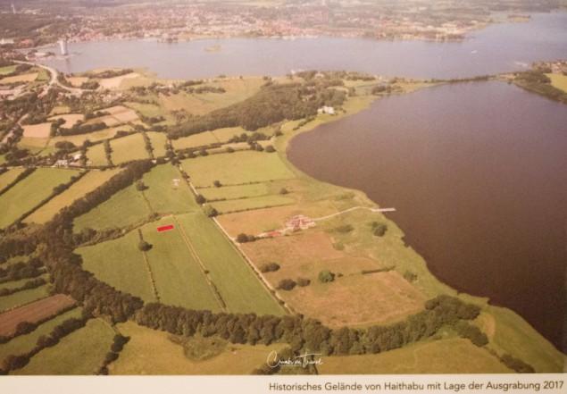 Air view Haithabu - Viking village in Schleswig-Holstein