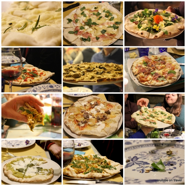 Different types of pizza at the home restaurant Valdericarte, Le Marche/Italy