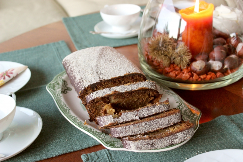 Honey cake with marzipan and gingerbread spices
