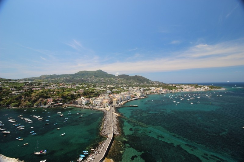 View rowards Ischia Ponte and Porto from the Aragonese castle of Ischia, Campania/Italy