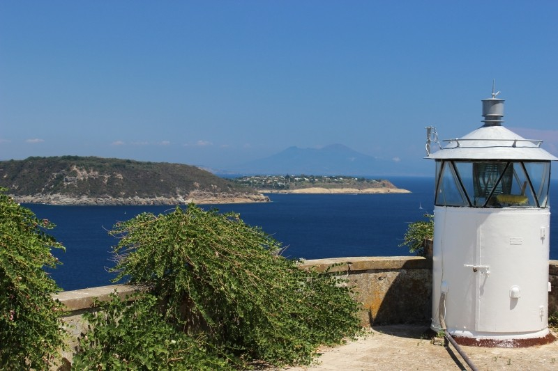 View on Vivara and Procida from the Aragonese castle of Ischia, Campania/Italy