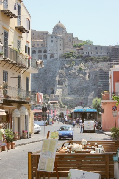 View of the Aragonese Castle in Ischia Ponte, Campagna/Italy