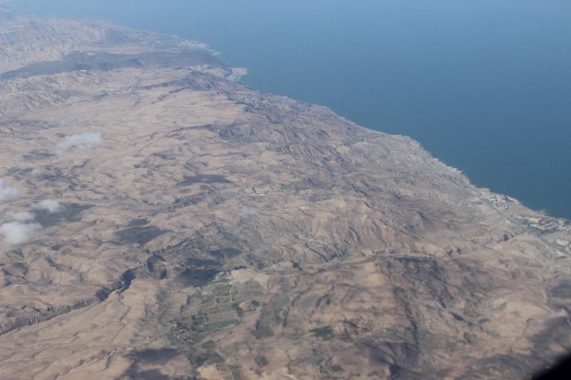 Death Sea seen from plane, Jordan, Middle East