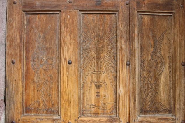 Door detail, parish church Kuens, South-Tyrol/Italy