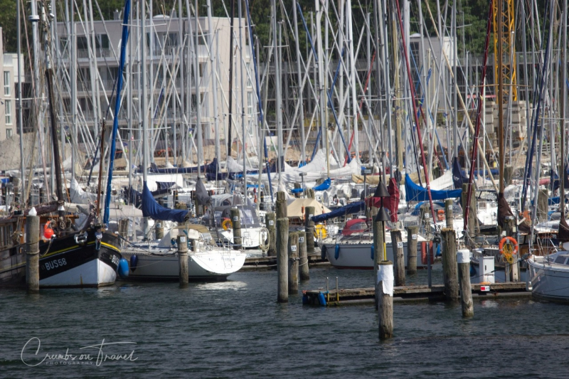 Sail boats in Travemünde on a boat