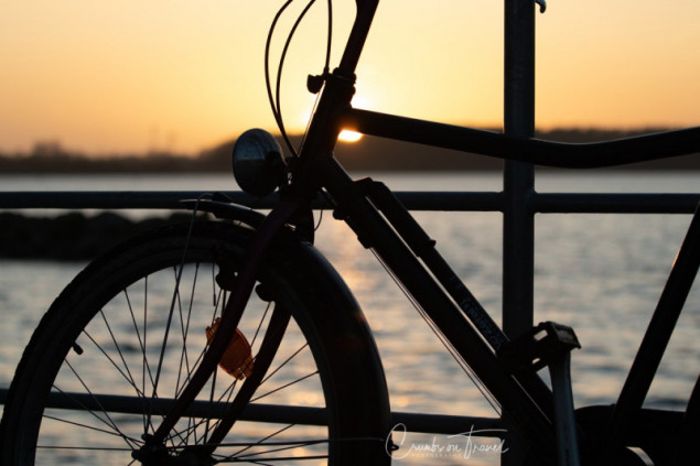 Bicicle in the sunset, Maasholm, near Kappeln