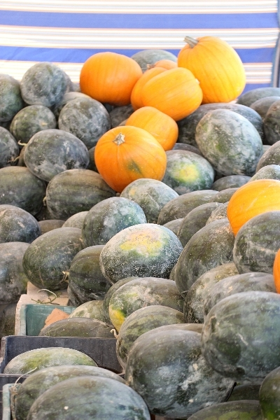 Melons at a market in Jordan