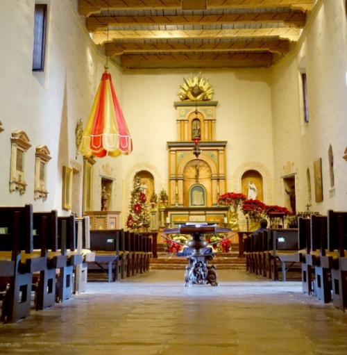 Inside the church of the mission in San Diego, California/USA