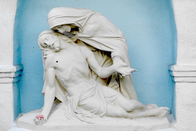A pietà seen at the mission in San Diego, California/USA