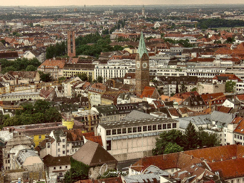 Overview,  Munich in Bavaria in Germany