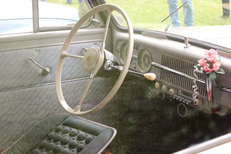 The inside of an Oldtimer car seen in Schwabstedt, Schleswig-Holstein, Germany