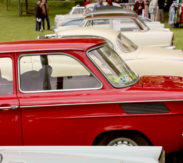 Oldtimer cars seen in Schwabstedt, Schleswig-Holstein, Germany