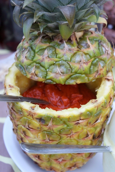 Barbecue sauce in a pineapple