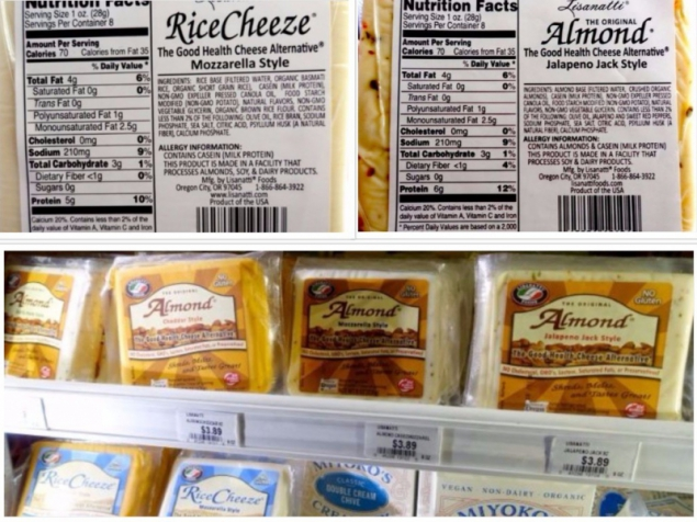 dairy-free cheese with rice or almond milk
