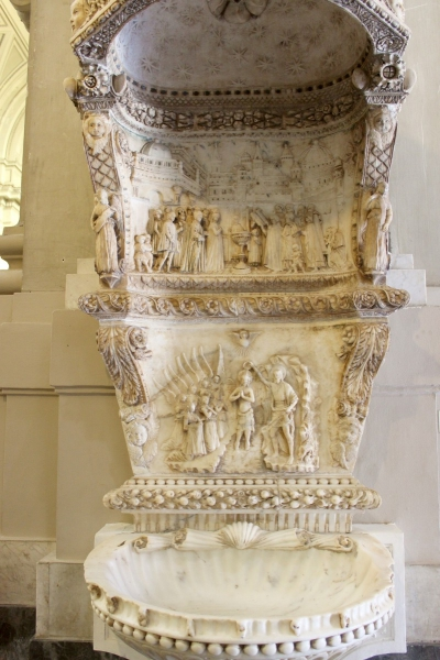 Baptismal font of the cathedral of Palermo, Sicily/Italy