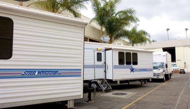 Actors vans, Paramount Picture Studios, Los Angeles, California/USA
