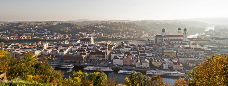 View on Passau from Veste Oberhaus, Passau, Lower Bavaria/Germany