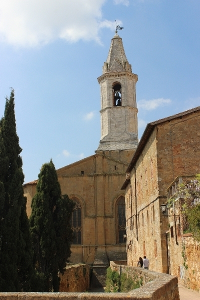 Bell tower in Pienza, Tuscany, Italy