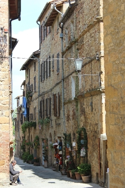 Street view in Pienza, Tuscany, Italy