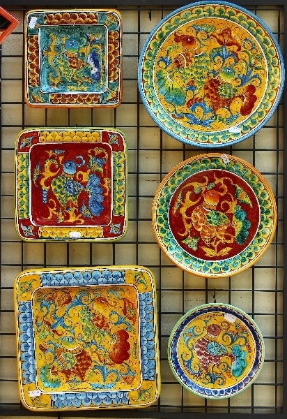 Colorful ceramics in Pienza, Tuscany, Italy