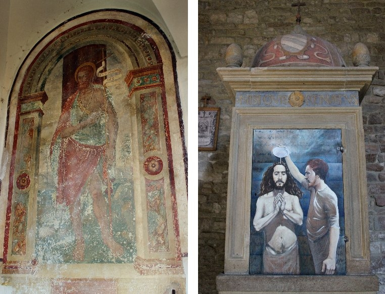 Paintings at the Pieve San Giovanni Battista at Carpegna, Marche/Italy